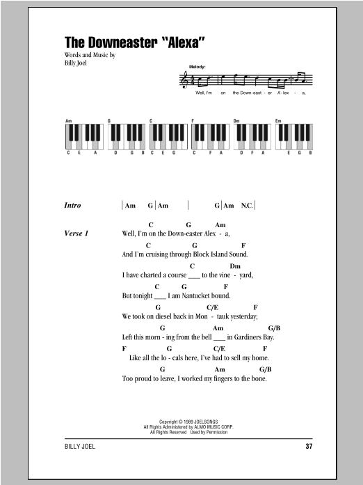 The Downeaster Alexa Sheet Music By Billy Joel Lyrics Piano
