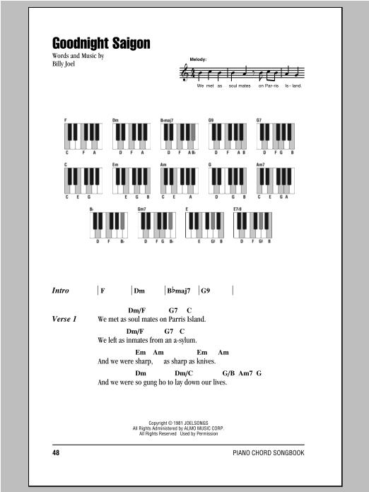 Goodnight Saigon (Piano Chords/Lyrics)