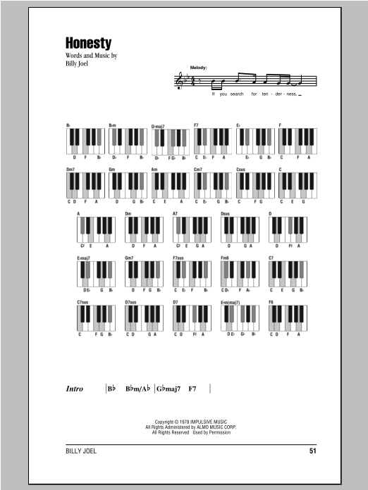 Honesty Sheet Music Direct