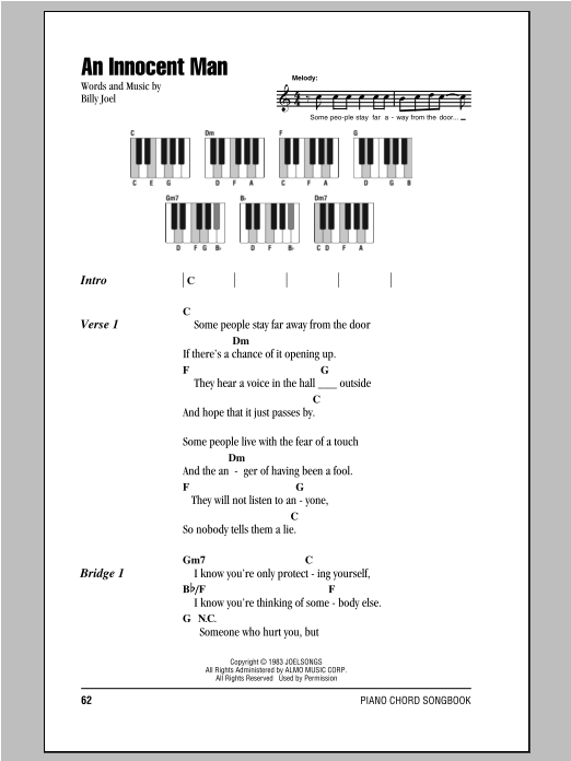 An Innocent Man Sheet Music