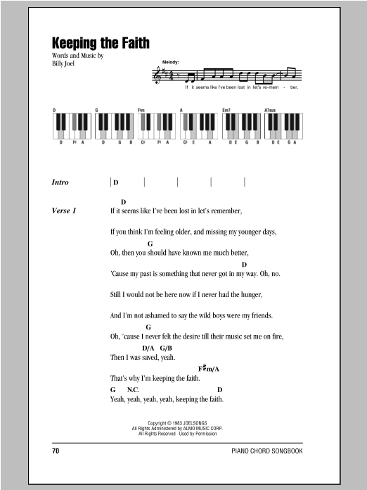Keeping The Faith Sheet Music