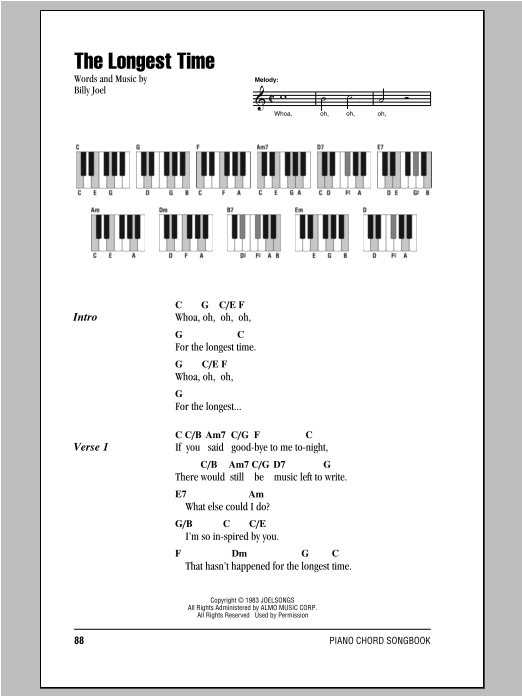 The Longest Time Sheet Music By Billy Joel Lyrics Piano Chords