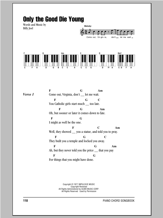 Only The Good Die Young (Piano Chords/Lyrics)