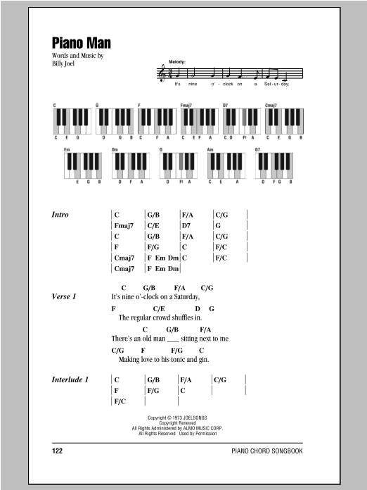 Piano Man sheet music by Billy Joel (Lyrics u0026 Piano Chords u2013 94914)