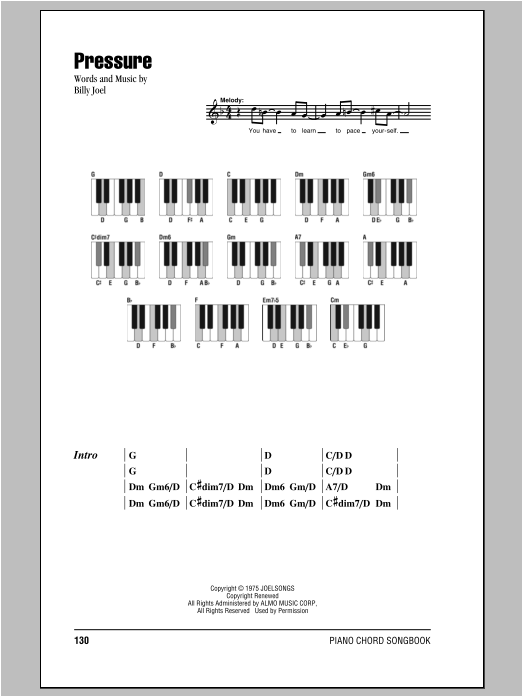 Pressure (Piano Chords/Lyrics)