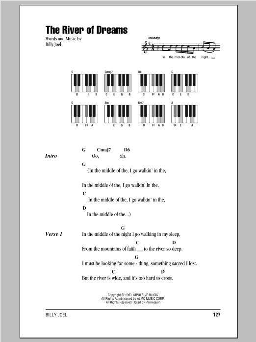 The River Of Dreams Sheet Music By Billy Joel Lyrics Piano Chords