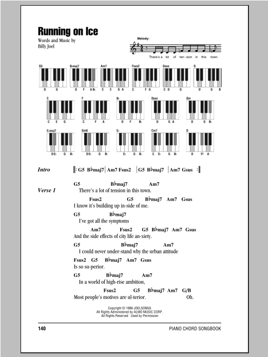 Running On Ice (Piano Chords/Lyrics)
