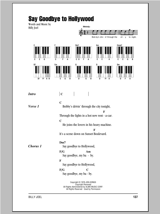 Say Goodbye To Hollywood (Piano Chords/Lyrics)