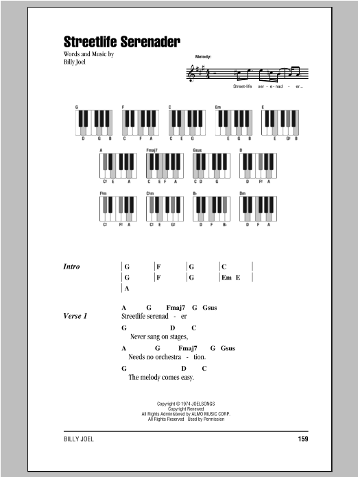Streetlife Serenader (Piano Chords/Lyrics)