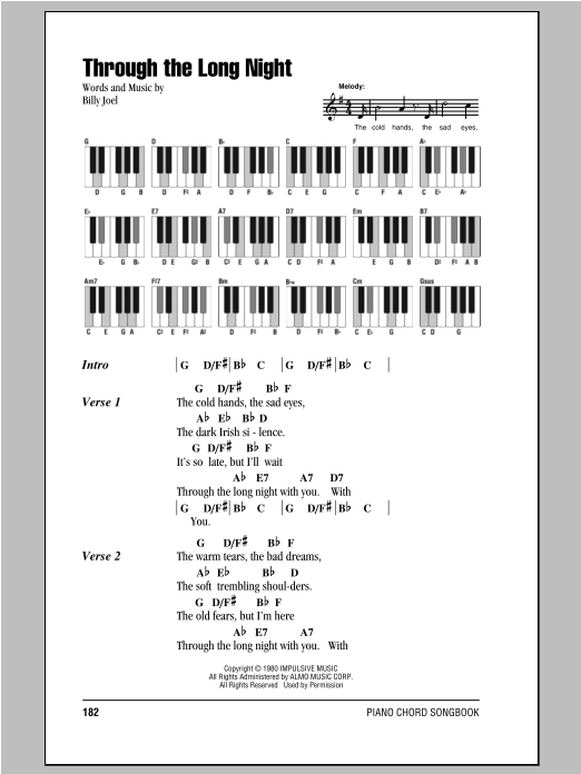 Through The Long Night (Piano Chords/Lyrics)