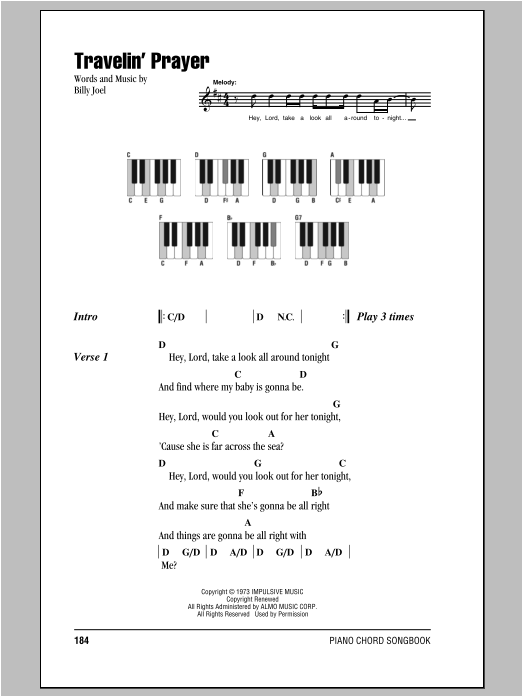 Travelin' Prayer Sheet Music