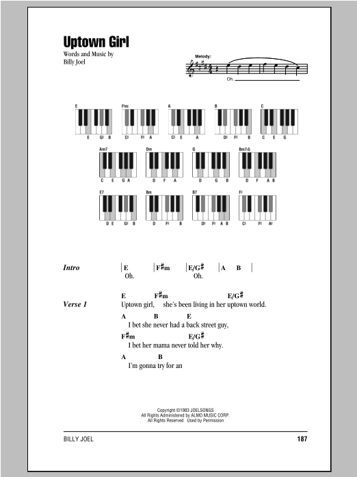 Uptown Girl Sheet Music Billy Joel Lyrics Piano Chords