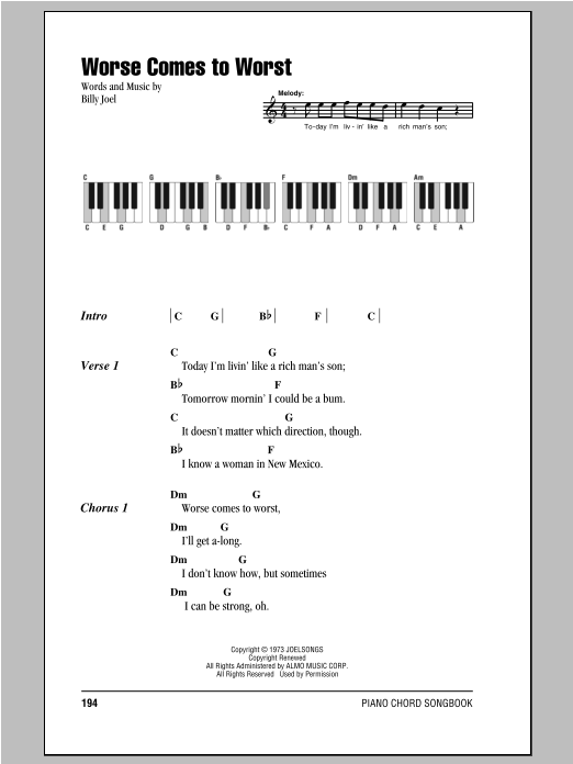 Worse Comes To Worst Sheet Music