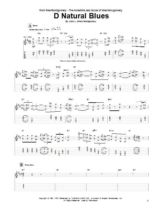 D Natural Blues Sheet Music