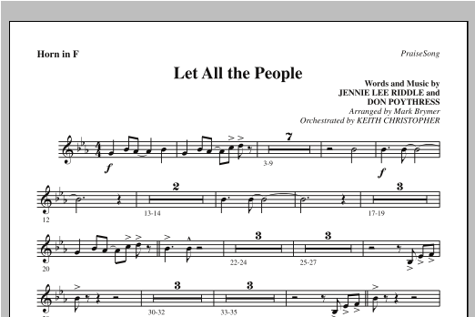 Let All The People - F Horn Sheet Music