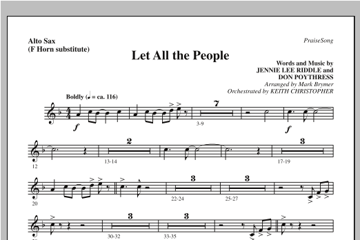 Let All The People - Alto Sax (sub. Horn) Sheet Music