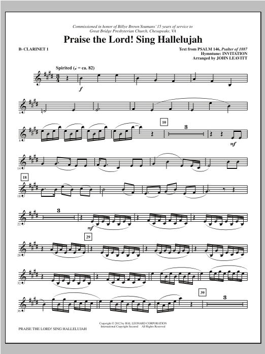 Praise The Lord! Sing Hallelujah - Bb Clarinet 1 Sheet Music