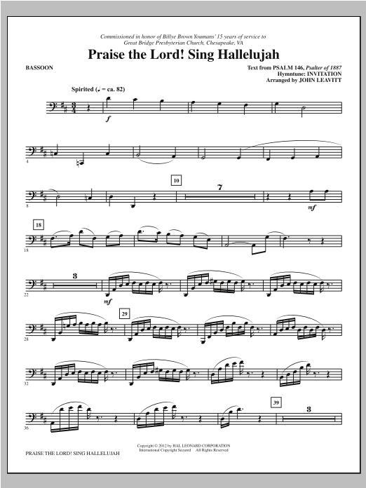 Praise The Lord! Sing Hallelujah - Bassoon Sheet Music