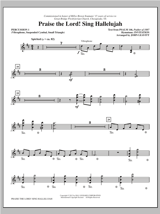 Praise The Lord! Sing Hallelujah - Percussion 1 Sheet Music