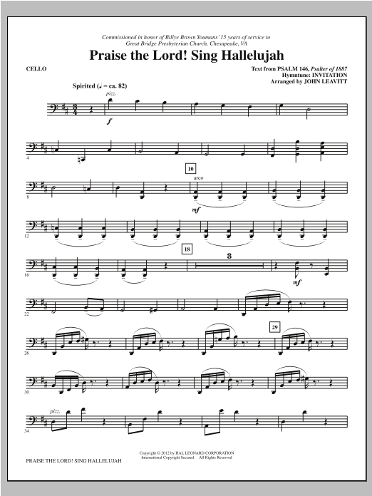 Praise The Lord! Sing Hallelujah - Cello Sheet Music
