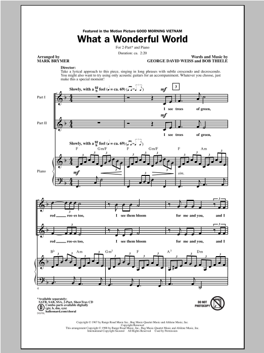 What A Wonderful World (arr. Mark Brymer) (2-Part Choir)
