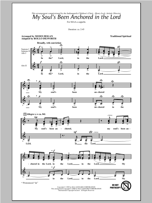 My Soul's Been Anchored In De Lord (arr. Moses Hogan) Sheet Music