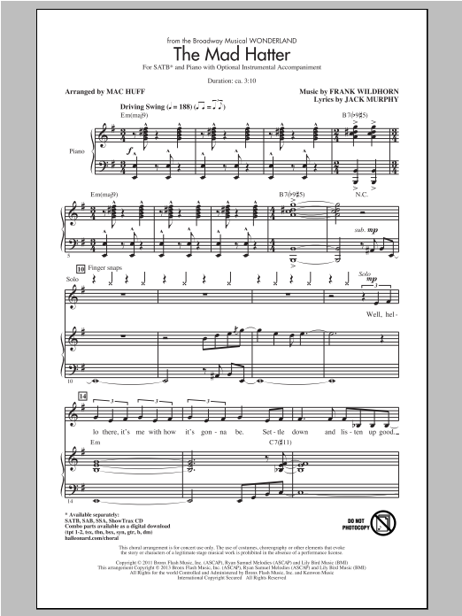 Partition chorale The Mad Hatter de Wonderland (Musical) - SATB