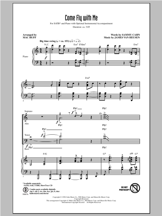 Partition chorale Come Fly With Me de Frank Sinatra - SATB