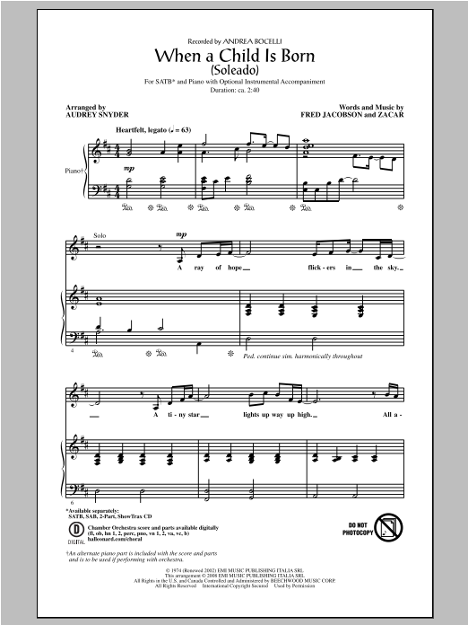 Partition chorale When A Child Is Born (Soleado) de Andrea Bocelli - SATB