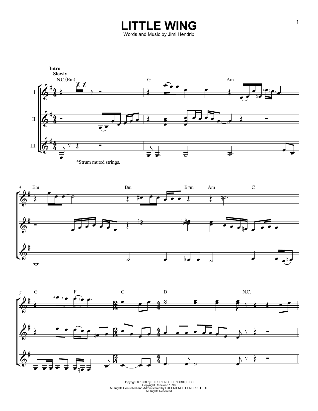 Little Wing Sheet Music