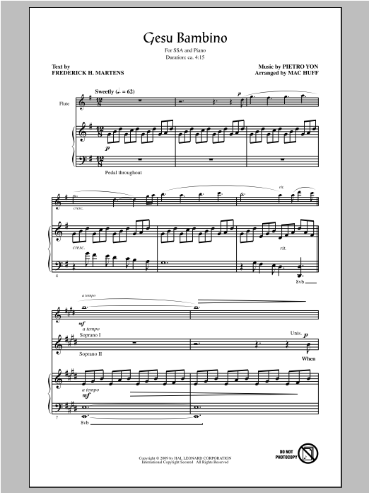 Gesù Bambino (The Infant Jesus) (arr. Mac Huff) Sheet Music