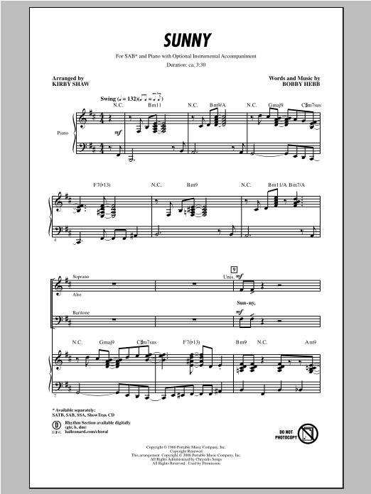 Partition chorale Sunny de Bobby Hebb - SAB