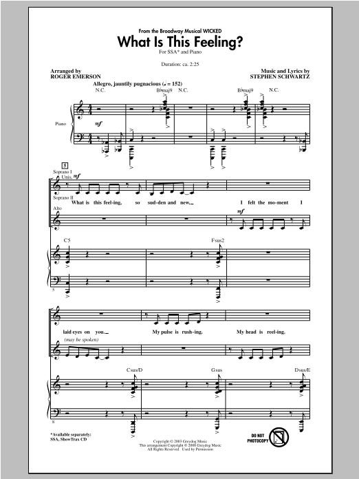 What Is This Feeling? (from Wicked) (arr. Roger Emerson) Sheet Music