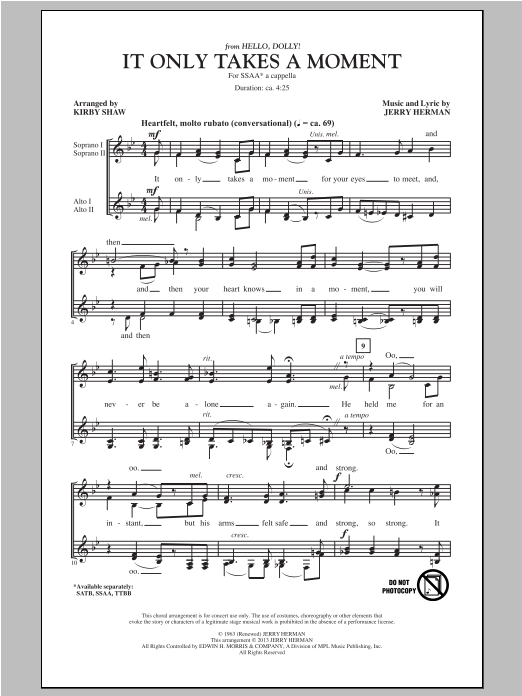 It Only Takes A Moment (from Hello Dolly (arr. Kirby Shaw) Sheet Music