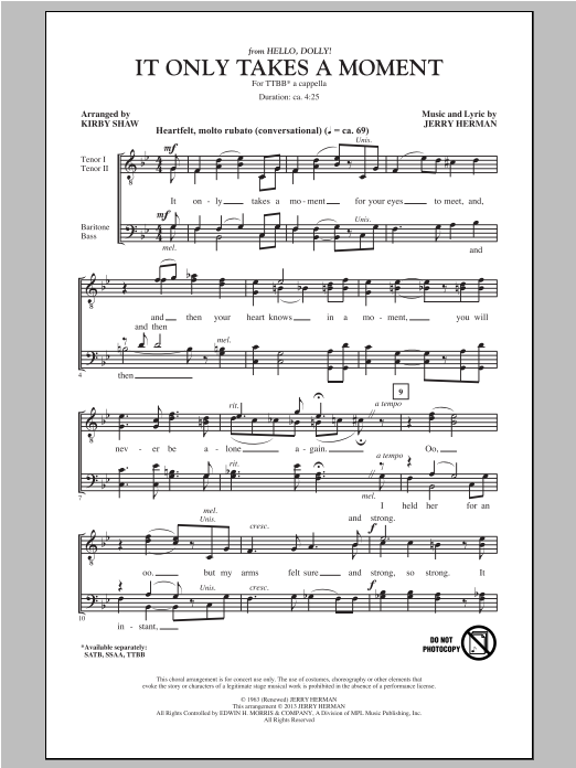 It Only Takes A Moment (from Hello Dolly) (arr. Kirby Shaw) Sheet Music