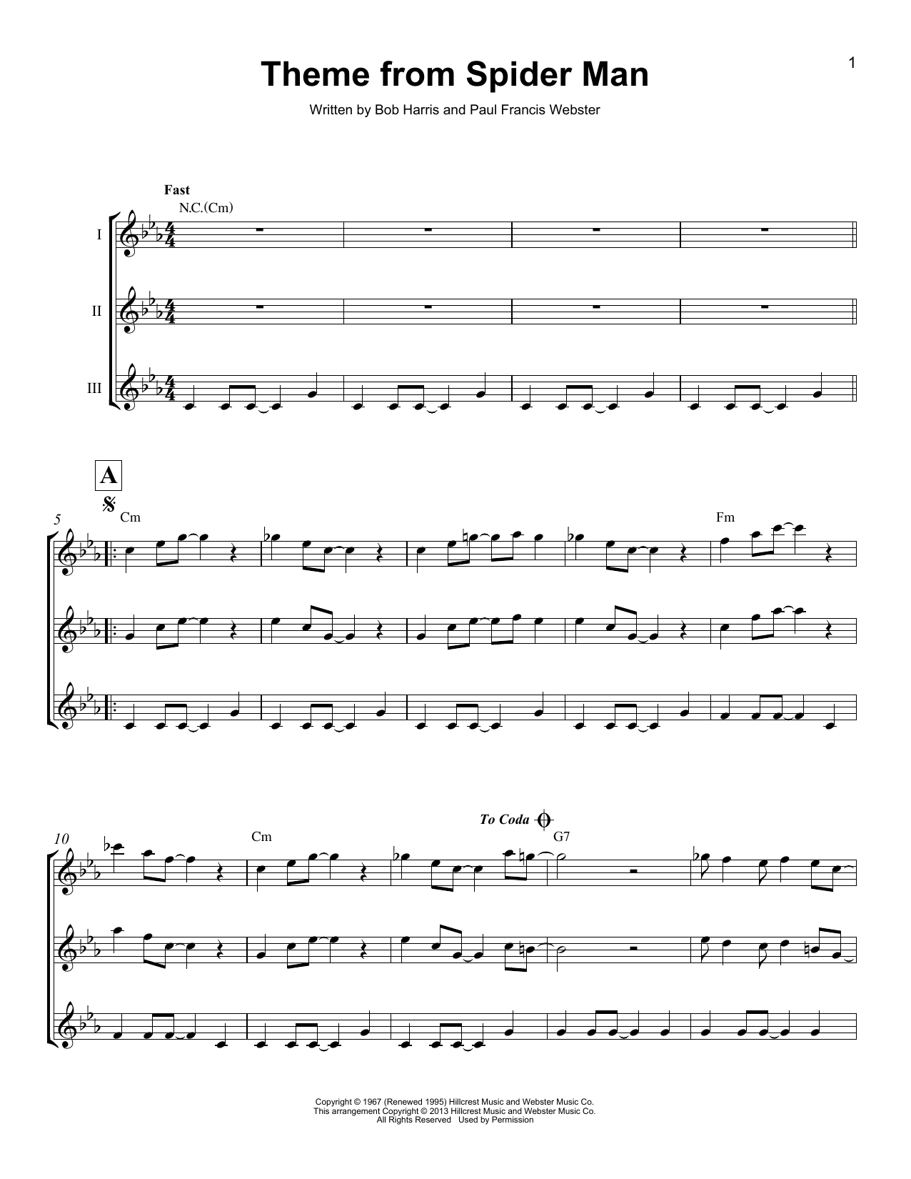 Theme From Spider Man by Bob Harris Guitar Tab (Single Guitar) Digital  Sheet Music