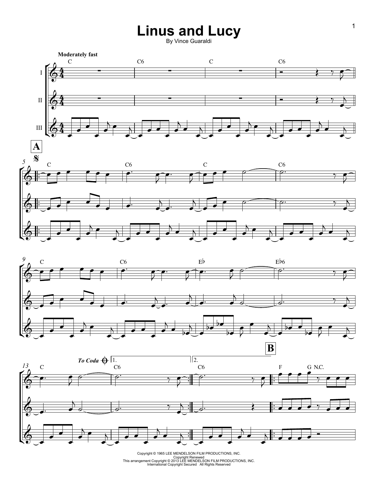 Linus And Lucy Sheet Music