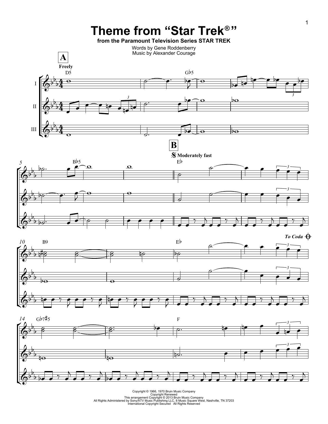 Theme From Star Trek by Gene Roddenberry Lead Sheet / Fake Book Digital  Sheet Music