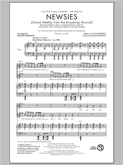 Newsies (Choral Medley) (arr. Roger Emerson) Sheet Music