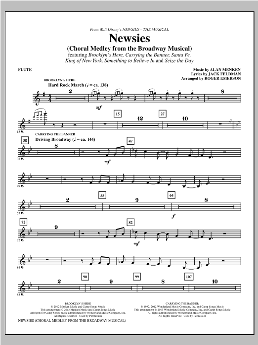 Newsies (complete set of parts) sheet music for orchestra/band by Alan Menken, Jack Feldman and Roger Emerson. Score Image Preview.