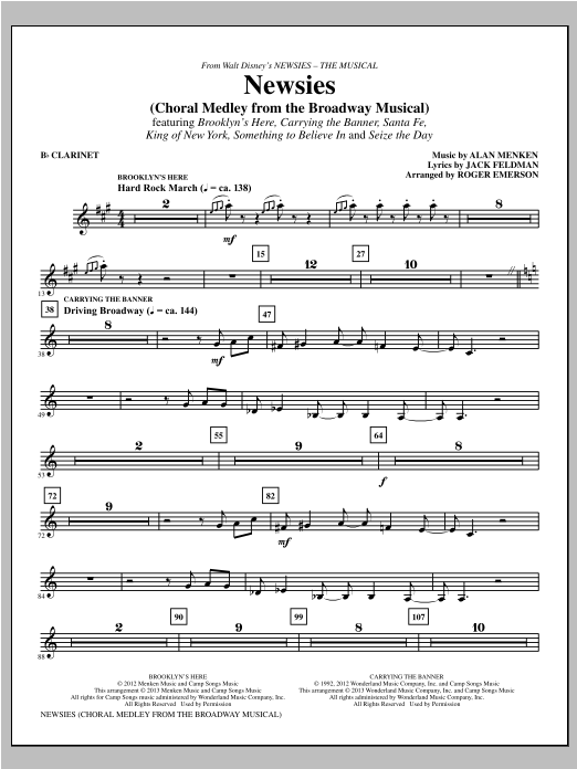Newsies (Choral Medley) - Clarinet Sheet Music