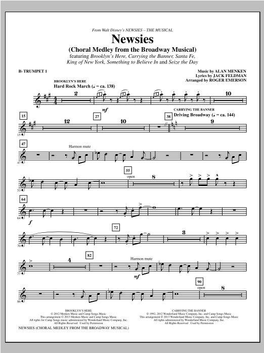 Newsies (Choral Medley) - Bb Trumpet 1 Sheet Music