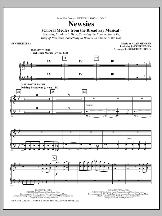 Newsies (Choral Medley) - Synthesizer I Sheet Music
