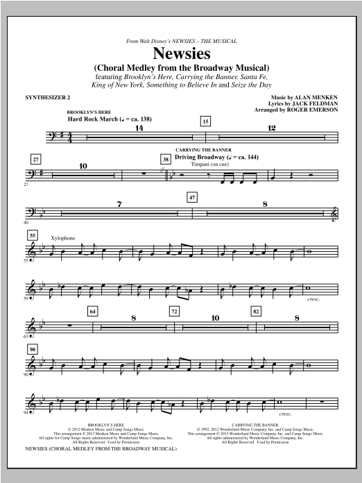 Newsies (Choral Medley) - Synthesizer II Sheet Music