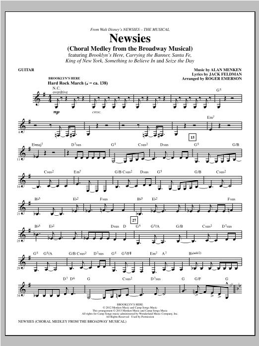 Newsies (Choral Medley) - Guitar Sheet Music