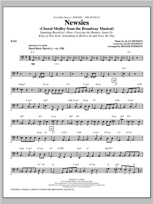 Newsies (Choral Medley) - Bass Sheet Music