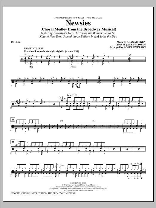 Newsies (Choral Medley) - Drums Sheet Music