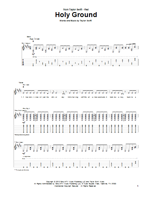 Holy Ground By Taylor Swift Guitar Tab Guitar Instructor