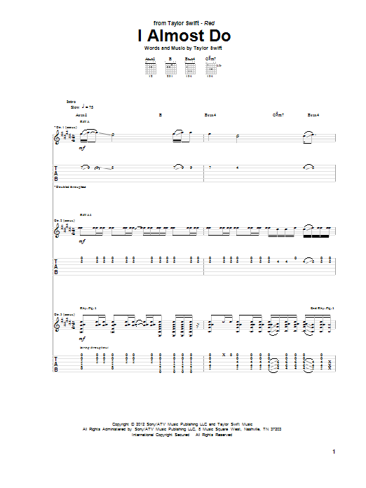 Tablature guitare I Almost Do de Taylor Swift - Tablature Guitare