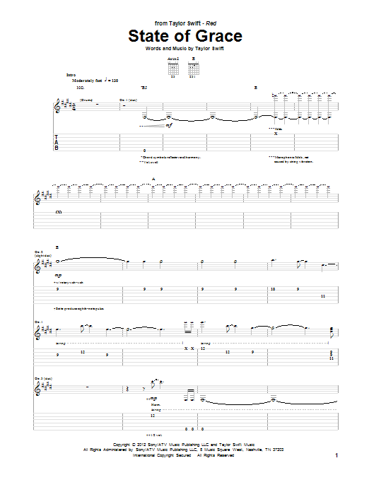 State Of Grace (Guitar Tab)